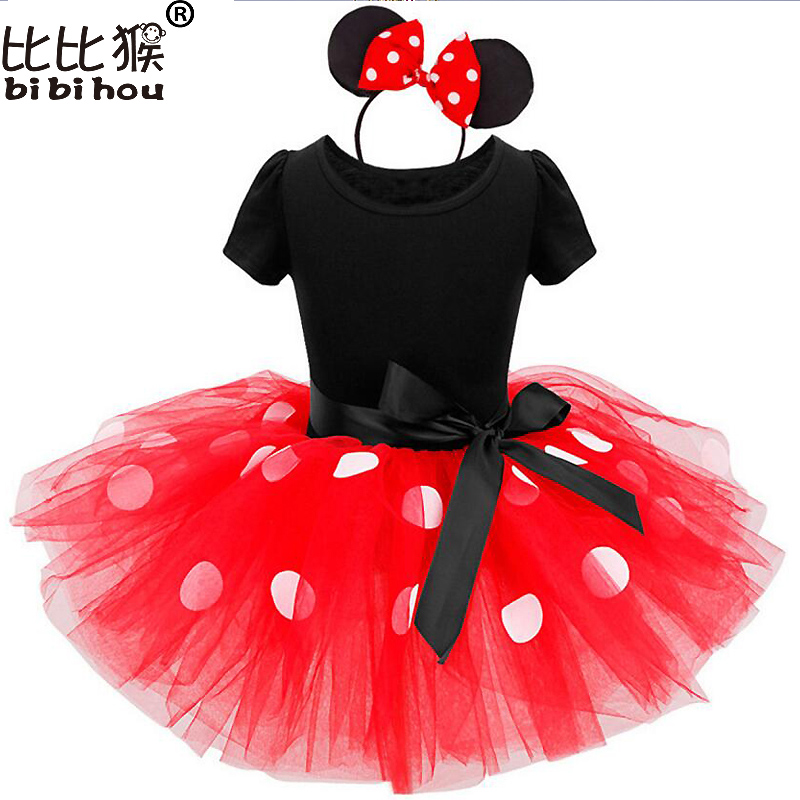 2017 Summer Kids Christmas Gift Cartoon Minnie Party Dress Fancy Costume Cosplay Girls Minnie Dress+Headband Infant Baby Clothes christmas cosplay costume lace up velvet cami dress