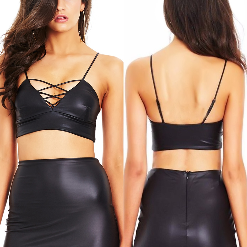 Women/'s Ladies Leather Look Sleeveless Bralet Bra Bustier Crop Top Blouse Vest