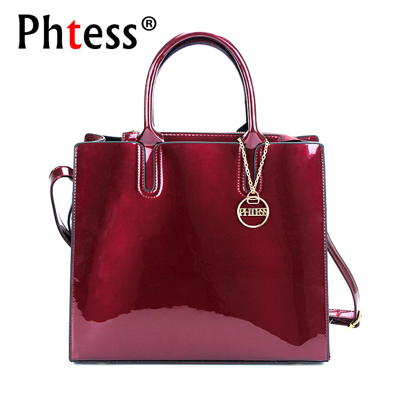 PHTESS Luxury Patent Leather Handbags Women Bags Designer Female Crossbody Shoulder Bags Ladies Hand Bag Sac a Main New Tote Bag new women genuine leather handbags shoulder bag oil wax cow leather tote bags female vintage handbags sac a main ladies hand bag