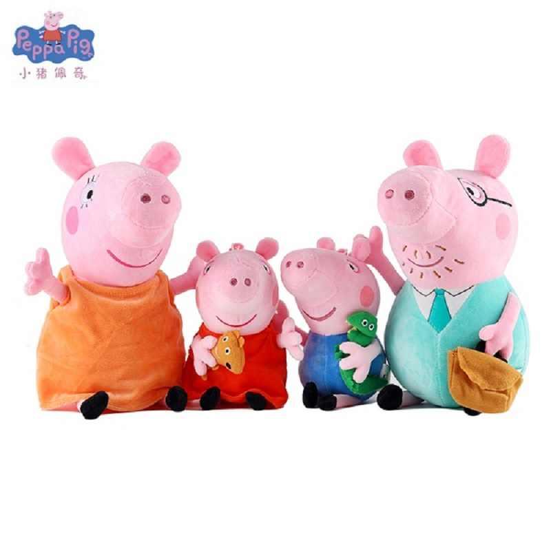 Original 30 cm Menina Porco Cor de Rosa George Pai Mãe Família Dos Desenhos Animados de Animais de Pelúcia Brinquedo de Pelúcia Boneca Aniversário Da Criança Da Menina Do Partido presente