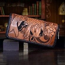 OLG.YAT hangmade men wallets Italian leather Vegetable tanned cowhide wallet long zipper handbag Dragon King Retro Choi cloth