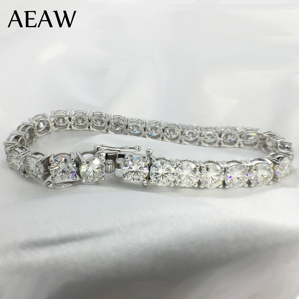 AEAW Platinum Plated Silver 18CTW 18CM Length 5mm F Near Colorless Moissanite Tennis Bracelet for Women-in Bracelets & Bangles from Jewelry & Accessories    1