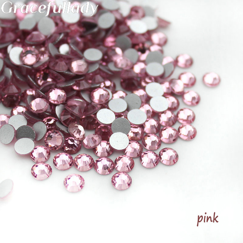 Super Shiny SS3-SS34 288-1440pcs Glitter Non Hotfix Pink Color 3D Nail Art Decorations Flatback Rhinestones Strass Stones ccbling super shiny ss3 ss40 bag clear crystal ab color 3d non hotfix flatback nail art decorations flatback rhinestones