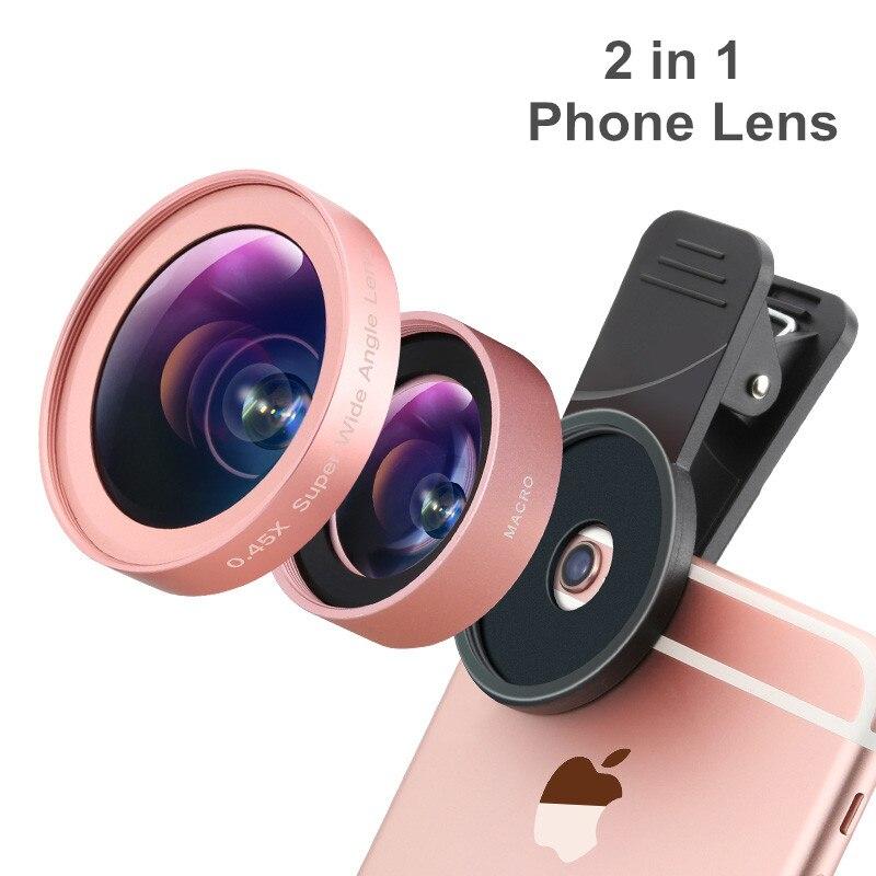 imágenes para Lente de teléfono, Ulanzi 2 en 1 Kit de Lente de La Cámara Del Teléfono Celular, lente gran Angular Macro Lente para el iphone Samsung Android Smartphones