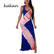 Kakan summer new womens printed dress sleeveless hollow backless Tibetan blue black