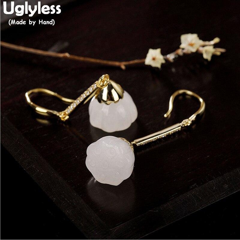 bcd397317418 Pendientes de loto de plata de ley 100% lisos reales 925 para mujer  pendientes de flores de Jade ...
