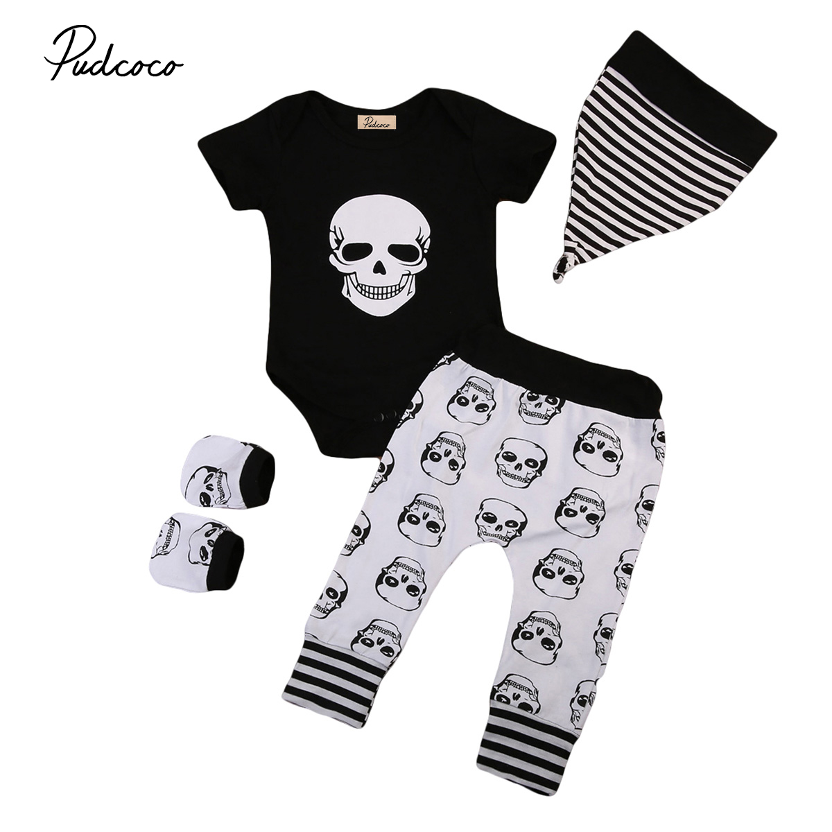 Novelty Newborn Baby Boy SKull Outfits Clothes Black Romper Tops Jumpsuit Long Pants Leggings Hats Gloves 4pcs Clothing Set