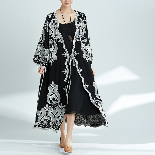 76270be186 New Plus Size Linen Coat Cardigans Summer Fashion Women s Clothing Big Size  Embroidered Flower Black Loose Lady Long Cardigan