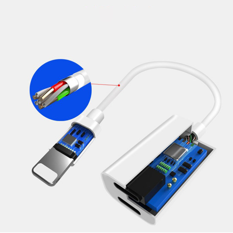 Adapter - 2 in 1 for iPhone Splitter Practical Dual for Lightning Adapter with Apple Audio and Charger Adapter