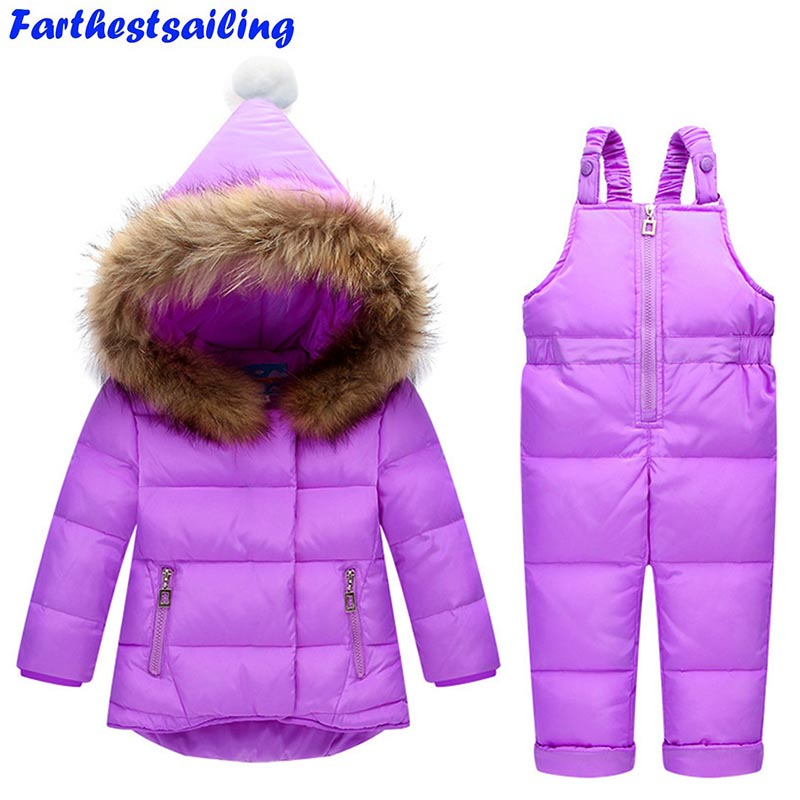 Russia Winter Children Clothing Sets Snow Jackets Pant 2pcs Set Baby Girls Duck Down Coats Jacket Fur Hood Outwear Kids Snowsuit buenos ninos thick winter children jackets girls boys coats hooded raccoon fur collar kids outerwear duck down padded snowsuit