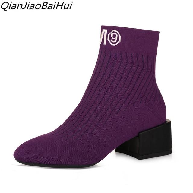 2edecd71767e sock bootie 2018 autumn spring shoes women luxury purple socks women ankle boots  plus size 34-40 tobillera mujer