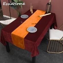 ESSIE HOME Orange Tangerine Single Side Matte Velvet High End Table Runner Wedding Decoration Placemat