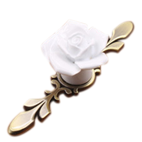10PCS Rose Alloy Ceramic Cabinet Knobs Cupboard Kitchen Drawer Pulls Handles Home DIY white S 10pcs rose alloy ceramic cabinet knobs cupboard kitchen drawer pulls handles home diy white s