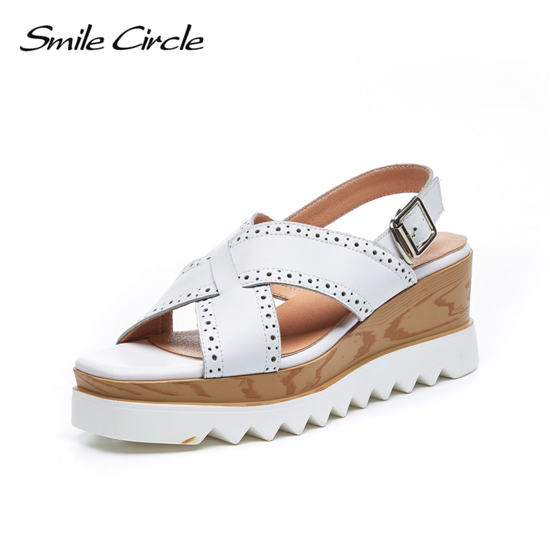 Smile Circle Summer Wedges sandals Women Genuine Leather platform Shoes For Women High heel sandals chaussures femme ete 2018 designer women sandals summer creepers platform shoes peep wedges genuine leather slip on chaussure femme