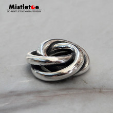 Mistletoe Jewelry Genuine 925 Sterling Silver Love Knot Charm Three In One Beads Fit European Troll 3.0mm Bracelet(China)