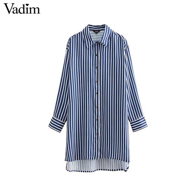 8e4cf03b8 € 12.2 |Vadim mujeres elegante rayas blusas largas sueltas manga larga  irregular camisas señoras Oficina desgaste tops de gran tamaño blusas LA265  ...