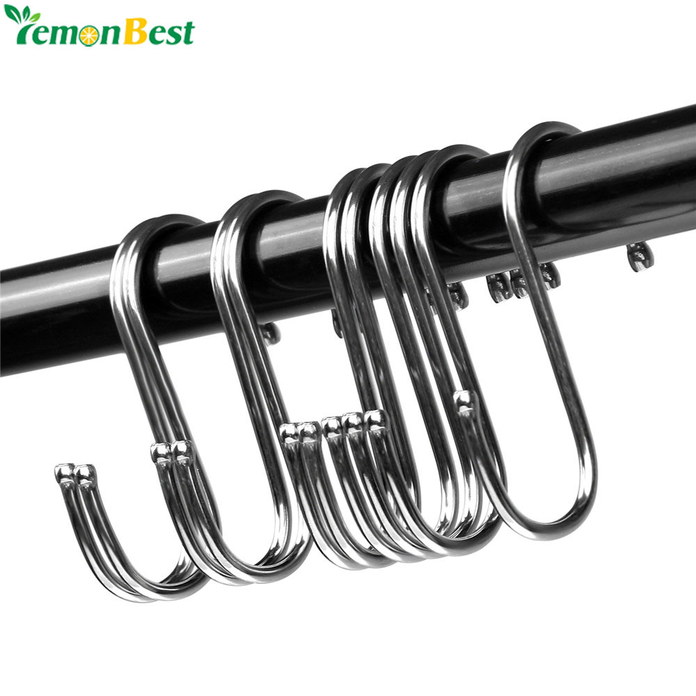 10pcs Stainless Steel S Shaped Hooks Multifunctional Metal Flat Hanging Hooks Hangers For Kitchen Bathroom Garden Bedroom Moderate Cost Bathroom Hardware