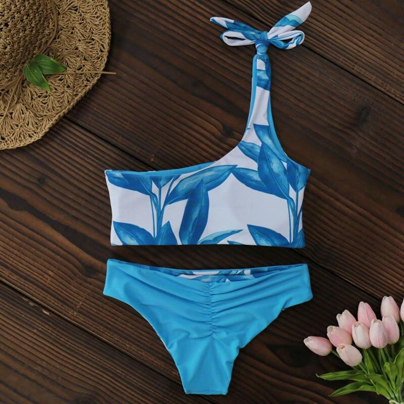 New One Shoulder Leaves Print Bikini 14