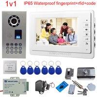 IP65 Водонепроницаемый видео телефон двери дверной колокольчик домофон Поддержка отпечатков пальцев/код разблокировки с Rfid Блокировка двер