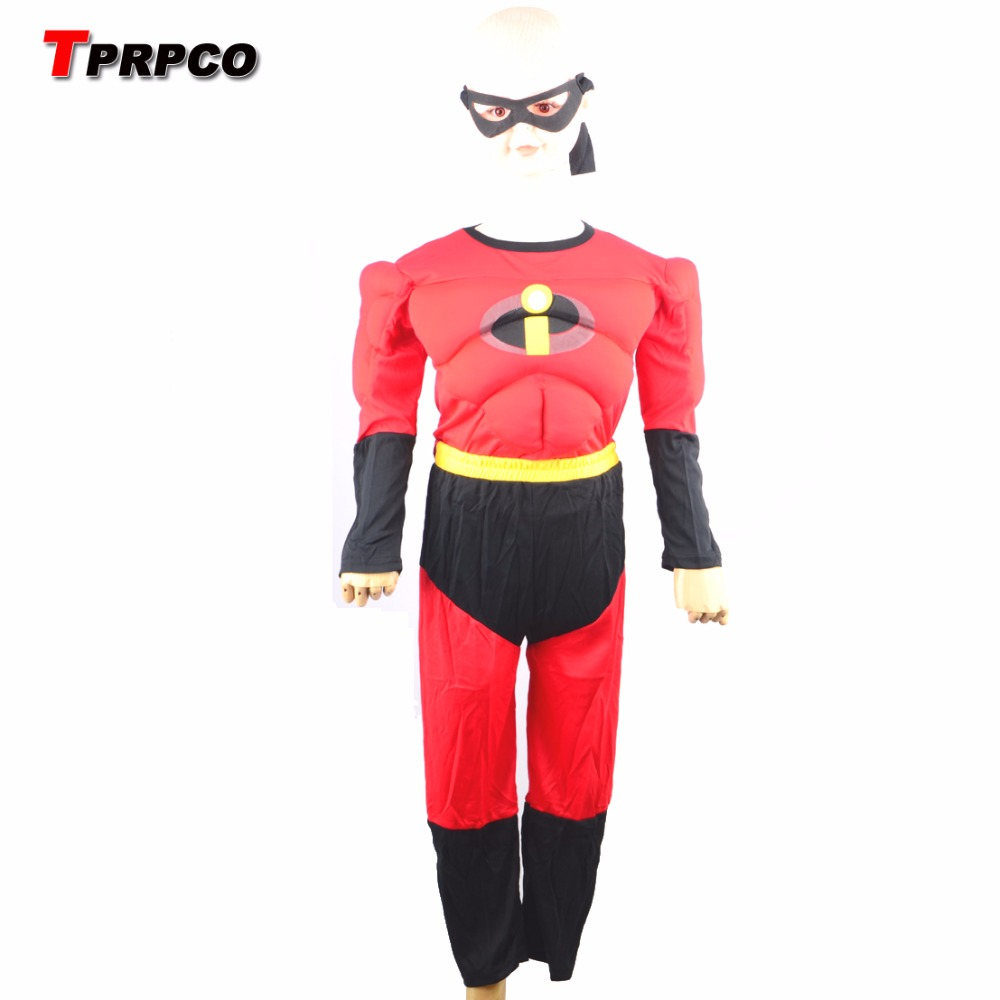 3-7years Party Kids Comic Marvel The incredibles Bob Muscle Halloween Costume,boy roll play clothing N1261