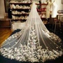 4 metre Fildişi/Beyaz Gelin Veils Dantel Kenar Çiçekler Tül Katedrali Düğün Veils Uzun Veu de Noiva 2018 yeni düğün Aksesuarları