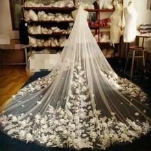 Velos de novia con borde de encaje, velo de novia con borde de encaje, de 4 metros, marfil/blanco, velo largo para boda, accesorios de boda, 2018