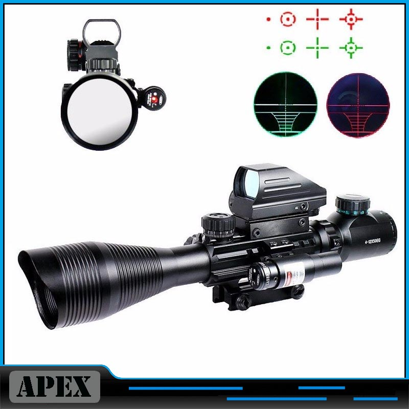 4-12X50EG Tactical Rifle Scope with Holographic 4 Reticle Sight & Red Laser Combo Airsoft Gun Weapon Sight Hunting Chasse Caza пояса seanna пояс кисти черно золотой
