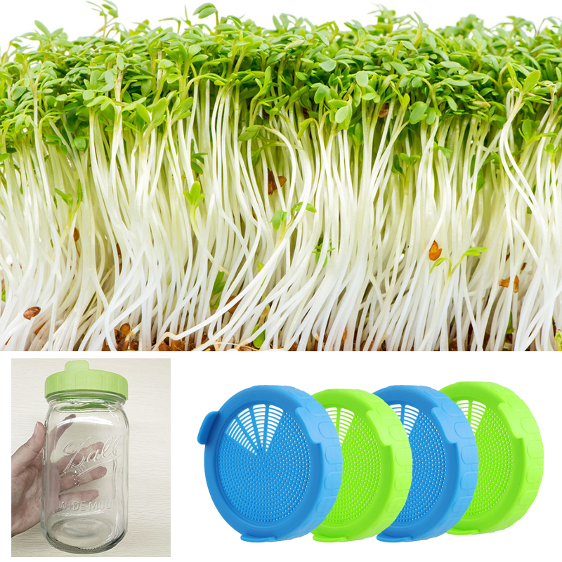Image 4 - 6 Pcs Sprouts Lids Set Seed Growing Cover Garden Food Grade PP Germination Sprouting Lid Shell Mason Jars With Silicone Sealing-in Nursery Pots from Home & Garden
