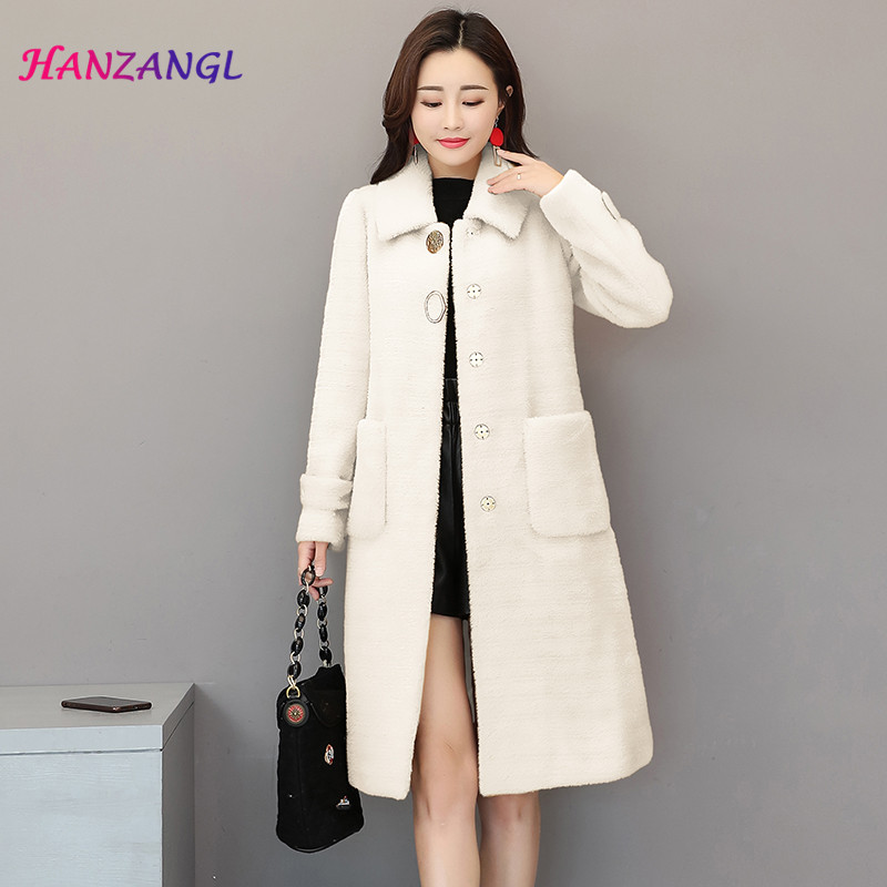 HANZANGL Gold Velvet Woolen Coat Female 2018 Winter New Imitation Mink Cardigan Long Thick Wool Coat Outerwear