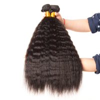 Malaysian Human Hair Bundles Kinky Straight Hair 3 Bundle Deals Natural Color Hair Weave Mslynn Non