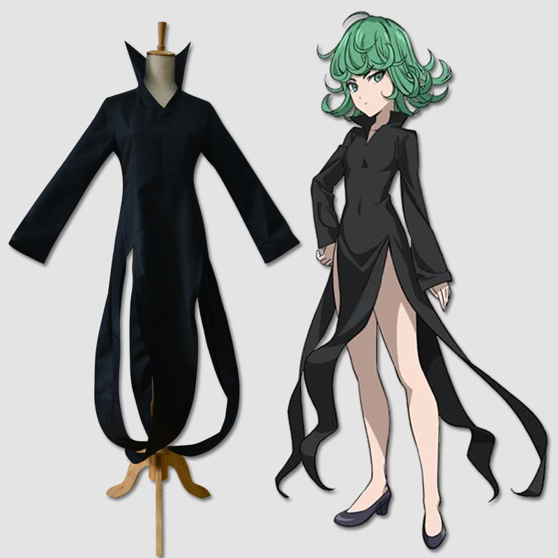 Free shipping Anime ONE PUNCH MAN cosplay tatsumaki cos Halloween party Unisex cosplay costume dress+iron wire