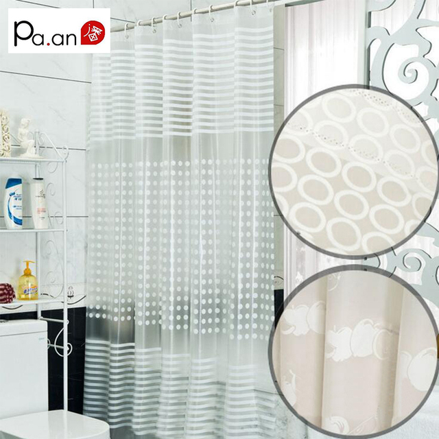 New Simple White Bathroom Curtain PEVA Eco-friendly Waterproof Moldproof Plastic Shower Curtains Bath Room Products High Quality