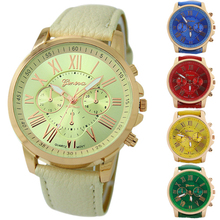 Popular Designed Women's Fashion Geneva Roman Numerals Analog Quartz Luxury Leather Watches  NO181 5UYH C2K5W