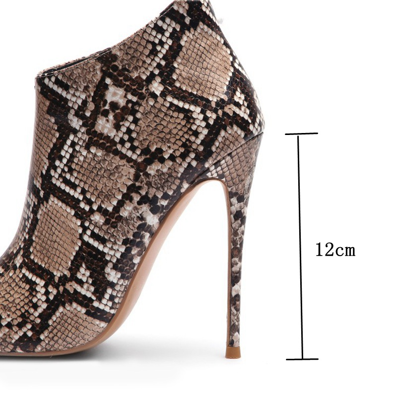 SIMLOVEYO 2019 New Western boots Woman snakeprint thin high heels ankle boots winter bootie work shoes zipper big size 45 B1397 in Ankle Boots from Shoes