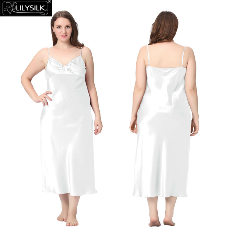 1000-white-22-momme-gathered-bowknot-neck-silk-nightgown-plus-size-01