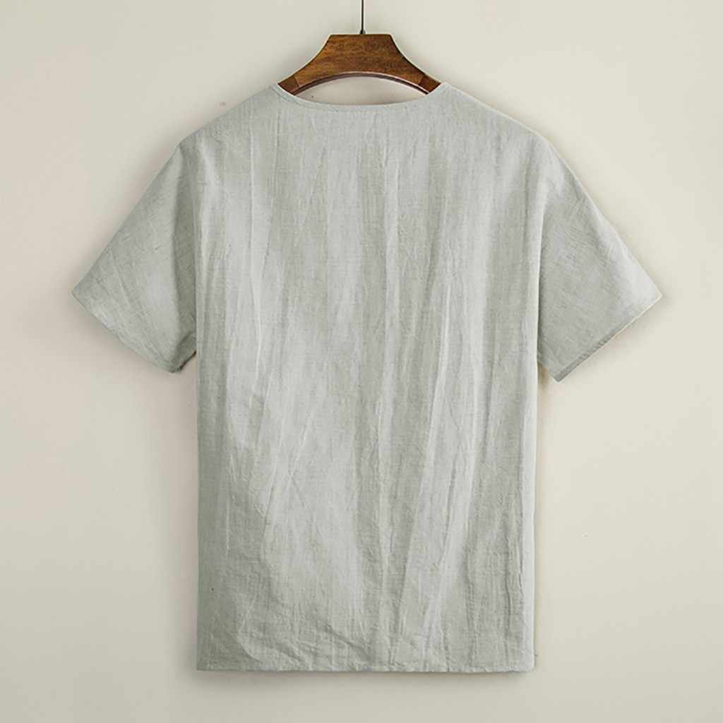 Áo Khoác nam Áo Chemise Áo Sơ Mi Linen Rời Cổ Chữ V Cao Cấp Bộ Áo Sơ Mi Áo Thời Trang nam quần áo camisas masculina 2019