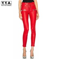 Design PU Leather Bandage Slim Fit Pants Women European Style Punk Leather Pantalon Autumn Side Zipper Red Black Trousers Female