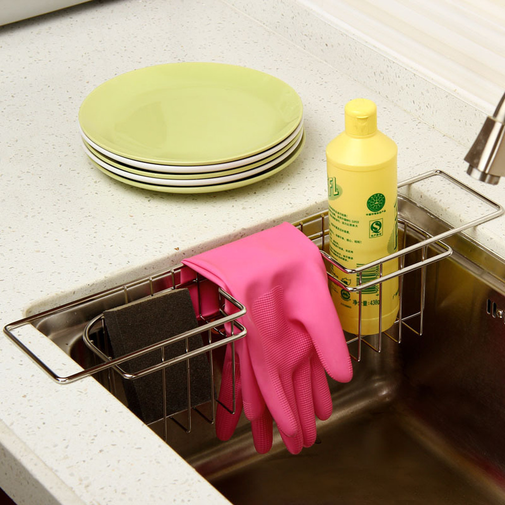 Stainless steel sink drain rack creative kitchen rack washing dishes dishwashing wipes cleaning gloves storage rack wx10291708