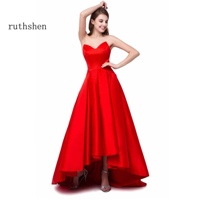 8fb4f3d8c1 ruthshen Reflective Dress Sexy High Low Prom Dresses Cheap Sweetheart  Draped Short Front Long Back Red Formal evening gowns