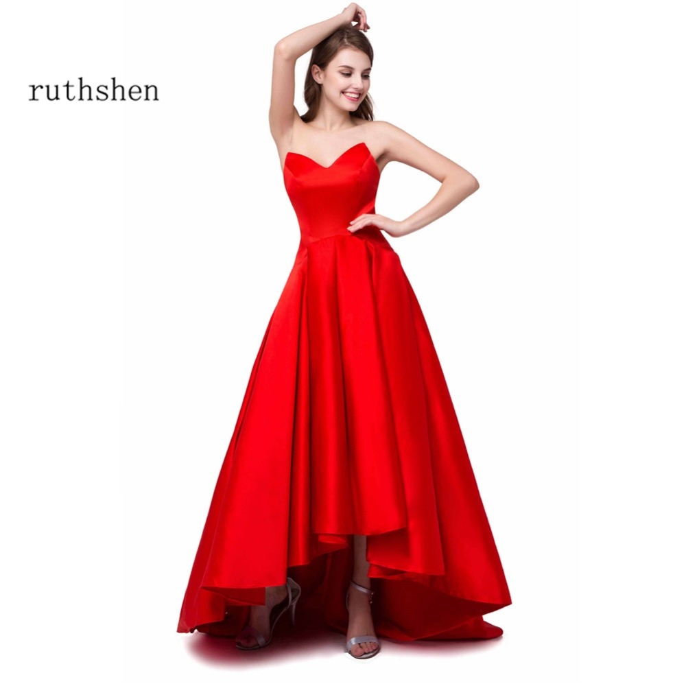 ruthshen Reflective   Dress   Sexy High Low   Prom     Dresses   Cheap Sweetheart Draped Short Front Long Back Red Formal evening gowns