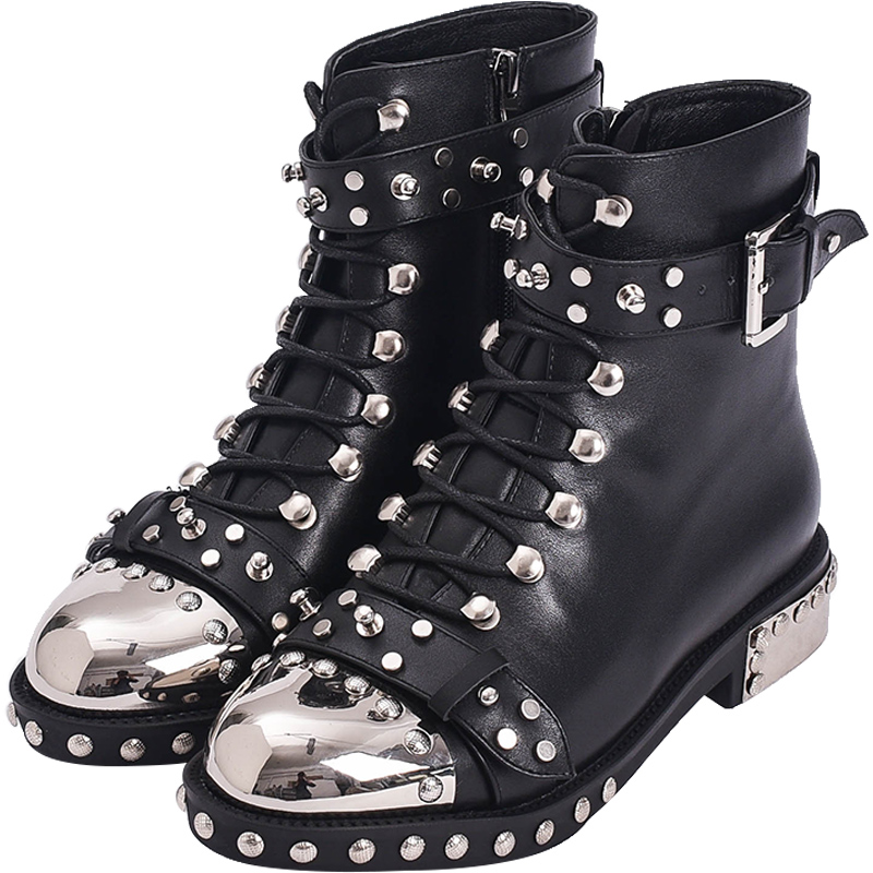 US4-11 Womens Rivet Studs Genuine Leather Ankle Boots Motorcycle Metal Toe Shoes New Punk Black White Red Plus Big Size hot sale womens pu leather shoes lace up rivet metal decoration punk style prom ankle boots for women casual footwear plus size