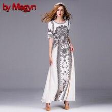 by Megyn Kate Princess Dress Women's Handmade Crystal Beedings Appliques Dress Floral Print Maxi Long Dress Vestidos LD432