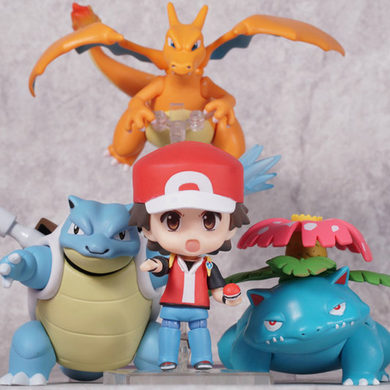Kawaii Nendoroid Trainer Red Aciton Figures Ash Ketchum Charizard Venusaur Blastoise Refaced Puppets Anime Figure Kids Toys Gift mymei 2016 unisex anime cosplay pokemon monster ash ketchum baseball trainer cap hat