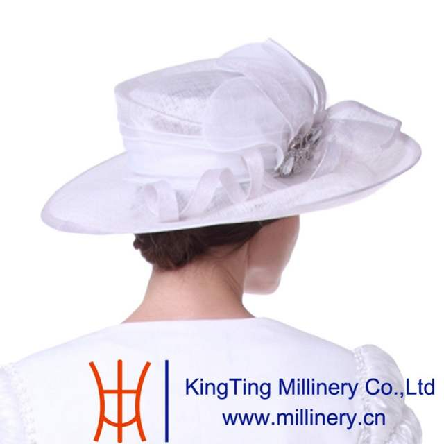 1ed5aafcfd2 Kueeni Women Church Hats Outwear Outfits Hat White Wide Brim Large Size  Elegant Noble Female Party
