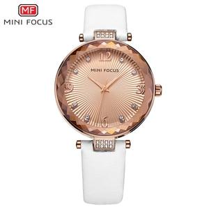 Image 4 - Mini foco relógios femininos à prova dwaterproof água marca de luxo moda casual senhoras relógio de quartzo rosa ouro aço inoxidável e pulseira de couro