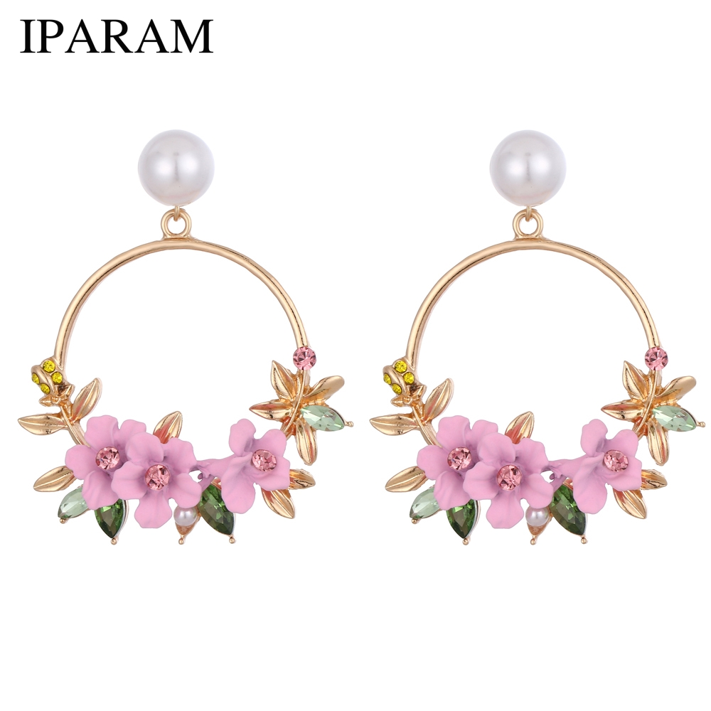 Fashion Pink Flower Circle Alloy Earrings Female Korea Simulation Pearl Geometry Pendant Earrings Wholesale Brincos Jewelry(China)