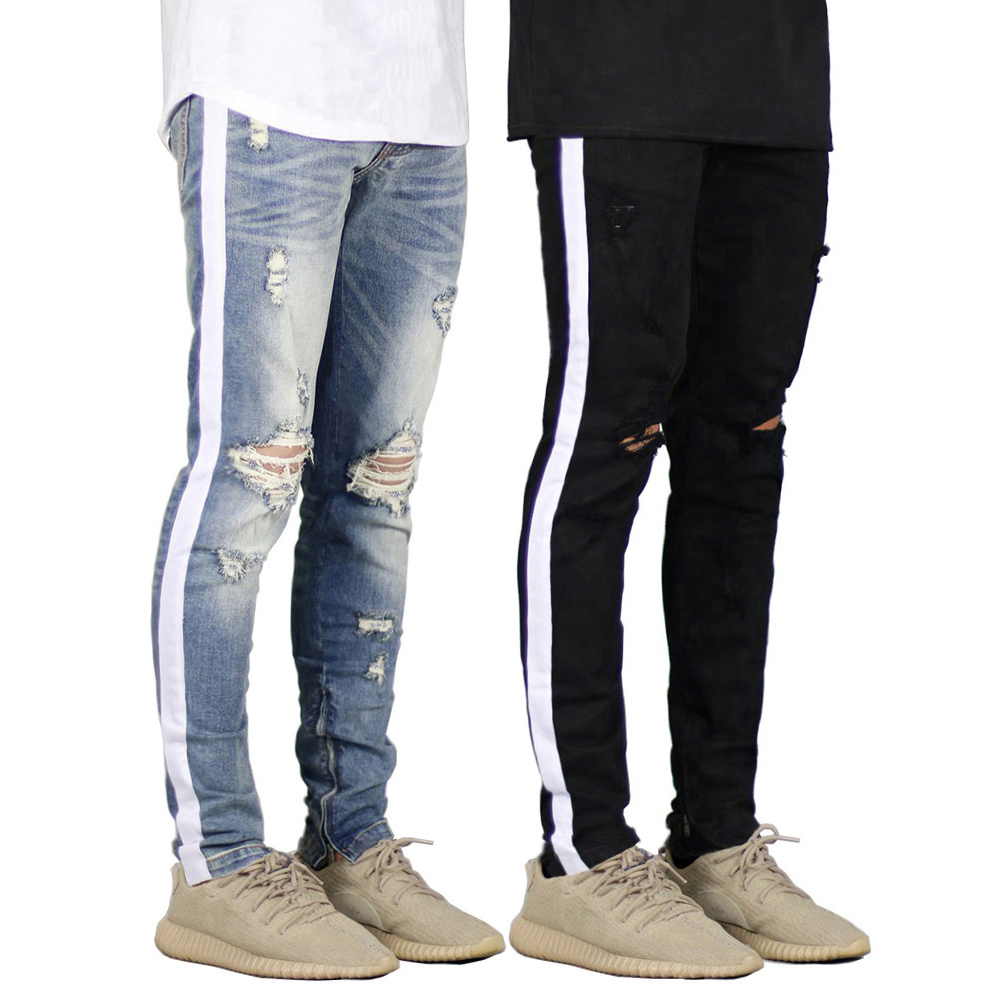Men Jeans Design Fashion Side Stripe Ripped Destroyed Jeans For Men H8709