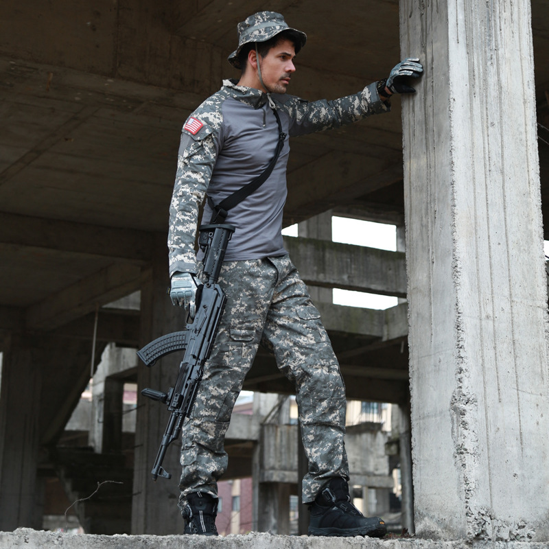 Outdoor Hunting Shooting CS Airsoft Camouflage Shirt+Pants Suits Jungle Tactical Uniform Tops Trousers Sets With Elbow Knee Pads fishing hunting camo hidden tactical pants trousers biomimicry jungle amouflage pants leaves wearable durable camouflage pants