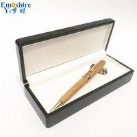 Solid Wood Pencil Case Wooden Pencil Box Bamboo Roller Ball Pen Bamboo Ballpoint Pen for Writing Supplies 0.5mm Refill P620