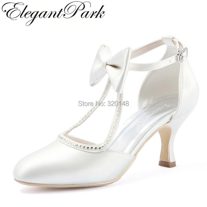Women Shoes Wedding Bridal Mid Heels White Ivory T Strap Closed Toe Bows Satin Bride Lady